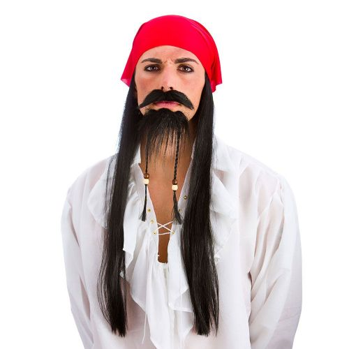 Pirate Set (Bandana With Hair, Moustache & Beard) for Sailor Jack Fancy Dress